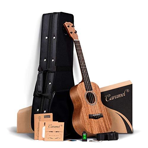 ALL SOLID MAHOGANY WOOD ! Tenor Ukulele Caramel 26 inch Professional ukulele Instrument Kit Small Hawaiian Guitar ukalalee Pack Bundle Hard Case, Digital Tuner, Strap, Strings Set