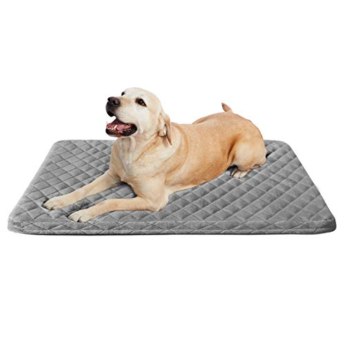 Large Dog Beds 23/31/39/47 Inch Soft Pet Foam Bed Mat for Large Medium Small Dogs Washable Anti Slip Sleeping Mattress Cuddler Pad with Thicker Removable Cover (Diamond-Sliver Grey, Medium-31.5 in)