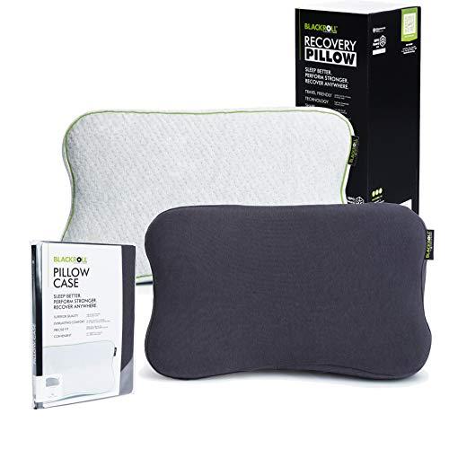BLACKROLL Recovery Pillow im Set mit zusätzlichem Bezug in anthrazit – orthopädisches HWS Kissen mit Kopfkuhle (Nackenstützkissen) aus Viscose Memory Schaum - Made in Germany