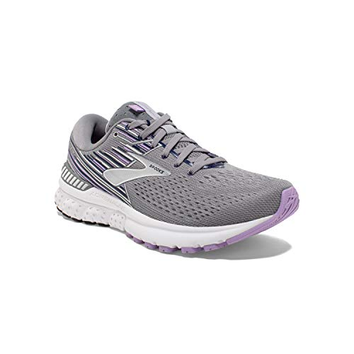 Brooks Womens Adrenaline GTS 19 Running Shoe - Grey/Lavender/Navy - B - 8.5