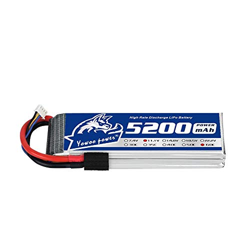 YOWOO Lipo Battery 3S 5200mAh 11.1v 60C RC Lipo Batteries with Tracxas Plug for RC Evader BX Car Truck Truggy Plane DJI Quadcopter Airplane Helicopter Boat Drone FPV Racing (5.35x1.77x1.22in, 0.74Ib)