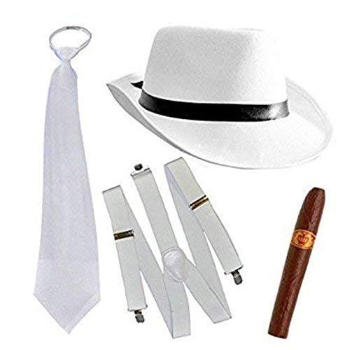 Thematys Al Capone Mafia Gangster hoed + stropdas + bretels + sigaar - 20 jaar kostuumset voor dames en heren - perfect voor carnaval en carnaval wit