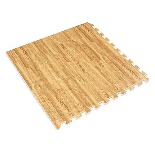 Brigamo ❂ rutschfeste Yoga Matte Schutzmatte in edler Laminat Optik Yogamatte Puzzlematte für Yoga oder Krabbelgruppe mit Abschlußleisten, 9 TLG. ❂
