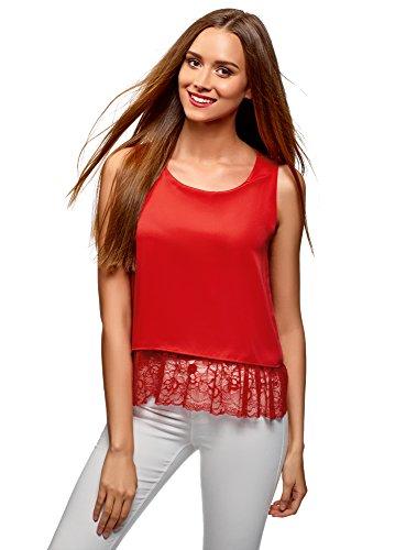 oodji Ultra Mujer Blusa con Acabado de Encaje en la Parte Inferior, Rojo, ES 44 / XL