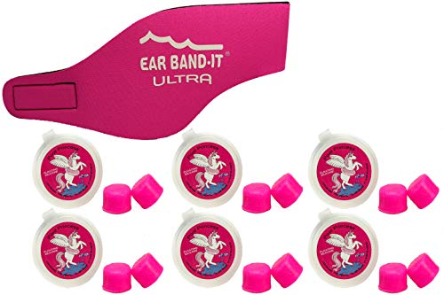 Ear Band-It Ultra Swimming Headband with Putty Buddies earplugs - 6 Pair Soft Silicone Premium Ear Plugs - The Best Swim Headband and Earplugs - Doctor Recommended (Hot Pink, Medium)