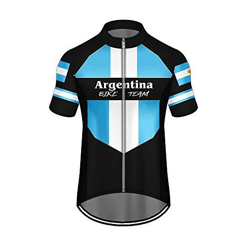 WAWNI Jersey de ciclismo con estampado 3D de la bandera nacional de país con cremallera bolsillos de poliéster Jersey de verano de ciclismo de tela (V06390,2XL)