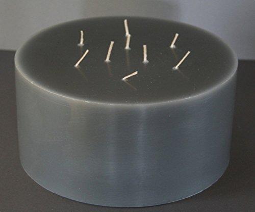 Mehrdochtkerze, Kerze, Stumpen, rund, Durchmesser 24 cm, H:12 cm, 9 Dochte, grau, groß