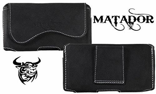 MATADOR Echt Leder Tasche Hülle Hülle Handytasche Gürteltasche Quertasche für Fairphone 2 mit verdecktem Magnetverschluß & Gürtelschlaufe in (Crazy Black)