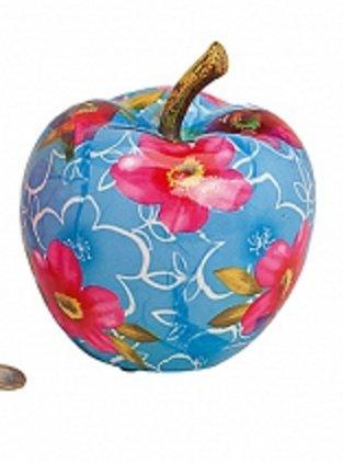 +d Spardose Apfel mit Blumendekor & Postkarte Lass mal reich Werden - Set ~ (Blau)