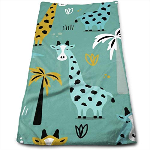 Colorful Giraffes Hand Towels Dishcloth Quick Dry Microfibre Towel Super Soft Extra Absorbent for Bath,Spa and Gym 12 X 27.5 Inch