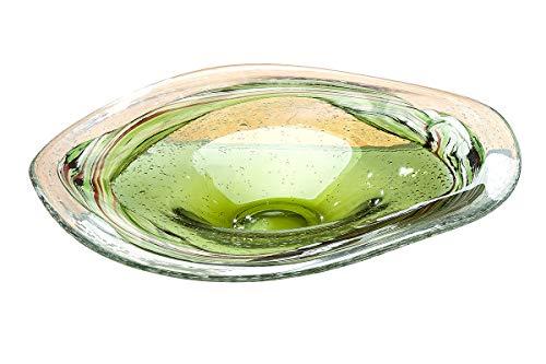 GILDE GLAS art Design Schale - Dekoobjekt - Deko Wohnzimmer - grün D 39 cm