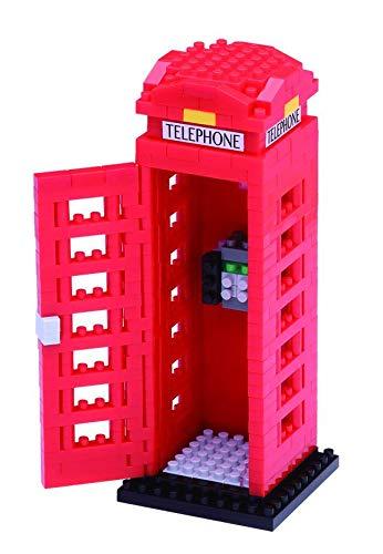 nanoblock NBH-125 - Telephone Box / Telefonzelle, Minibaustein 3D-Puzzle, Sights to See Serie, 390 Teile, Schwierigkeitsstufe 3, schwer