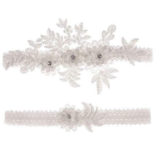Wedding Garters Set Lace Bridal Garter Stretchy Floral Garter for Bride Blue White (White-3, M(16'-20.5'))