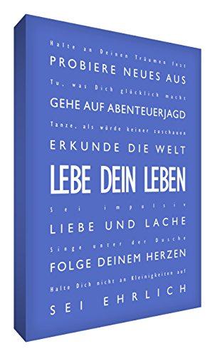 Little Helper LVLF2436-04G Feel Good Art Tableau sur toile avec citations sur la vie en langue allemande « Lebe Dein Leben » Typographie moderne Bleu 91 x 60 cm