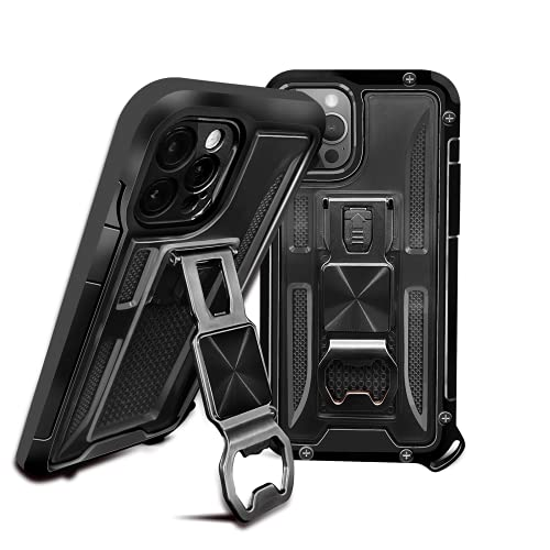 ENZOU for iPhone 12 Pro 5G Case Colorful, Designed for iPhone 12 Pro Case Clear, Armor Protector Camera Cover with Corkscrew and Magnetic Kickstand Phone Cases 12 pro (Black, for iPhone 12 Pro)