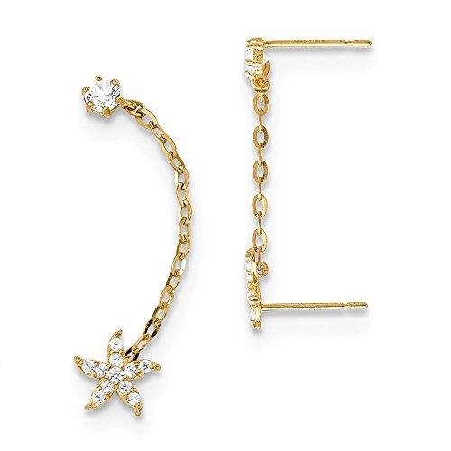 14K Yellow Gold Madi K CZ Double Post w/Chain Starfish Earring
