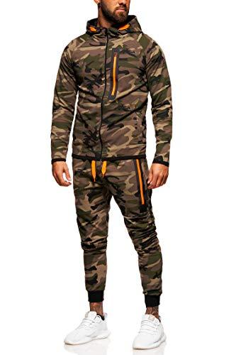 behype. Herren Camouflage Sportanzug Trainingsanzug Jogginganzug 70-0573 Khaki L