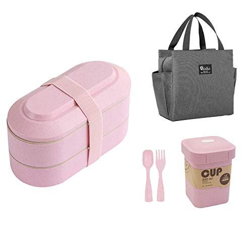 iEago RC Bento Box Lunch Paglia Di Grano Contenitore per Alimenti Impilabile Con Utensili Tazza Da Zuppa Borsa Da Pranzo Isolata Per Forno A Microonde Lavabile In Lavastoviglie per Bambini (rosa)