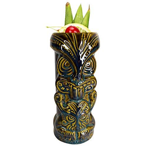 Magent Tiki-Becher Keramik 450ml Tiki-Becher Hawaiian Party Tiki Cocktail-Becher Keramik Party Cup Trinkgeschirr Vintage Aloha Hawaiian Tiki Bar Professionelle Hawaiian Party Barware
