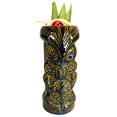Tiki Cocktail Mug, Ceramic Hawaiian Cocktail Mug, Tiki Cocktail Cups Ceramic, Tiki Cocktail Glasses for Tiki Cocktail Party 400 ml 05