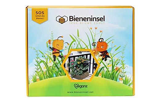Bieneninsel - Wertiger Pflanzkasten (Stecksystem) aus FSC-zertifiziertem Holz, mit torffreier Kokosblumenerde und speziell auf Bienen abgestimmte Futterpflanzensamen