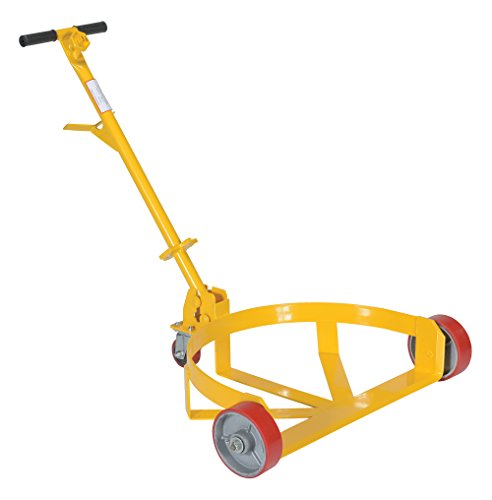 """Vestil LO-DC-PU Lo-Profile Drum Caddie with Bung Wrench Handle and Poly-on-steel Wheel, Steel, 21-5/8"""" Length, 31-5/8"""" Width, 37-5/8"""" Height, 1200 Capacity"""