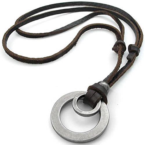 SODIAL(R) Collar Collar de joyeria de Hombres y Mujeres, de Cuero Genuino Pendiente de aleacion con la Cadena de Cuero, Marron