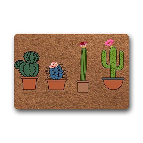 Eureya Paillasson en Forme de Cactus en Pot pour intérieur/extérieur Tapis de Cuisine Tapis de Bienvenue en Caoutchouc 40 x 60 cm