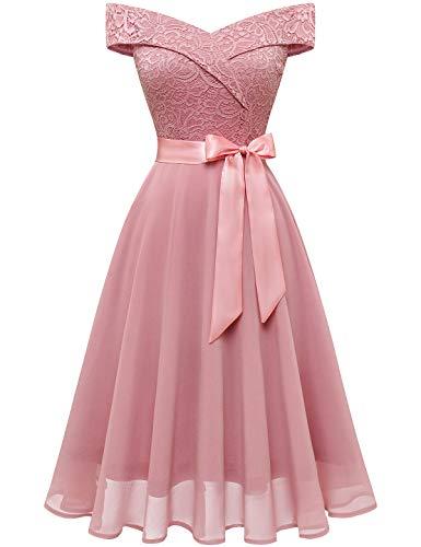 Bbonlinedress Spitzenkleid Cocktailkleid Damen Kleider Festliches Ballkleid Brautjungfernkleider für Hochzeit Knielang Abendkleider Blush 3XL