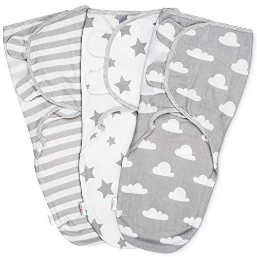 Baby Pucksack Wickel-Decke - 3er Pack Universal Verstellbare Schlafsack Decke für Säuglinge Babys Neugeborene 4-6 Monate Grau