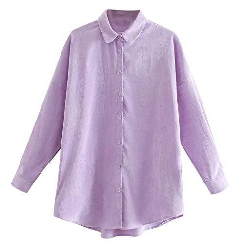SHYPT Camisa Holgada de algodón para Mujer Blusa de un Solo Pecho Otoño e Invierno Top de Pana (Color : B, Size : Large)