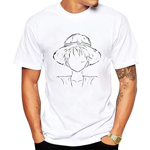 Camiseta masculina One Piece Anime Camiseta Zoro Luffy Manga Cosplay Branco Fashion Pulôver Verão, P12z8 21, XXL