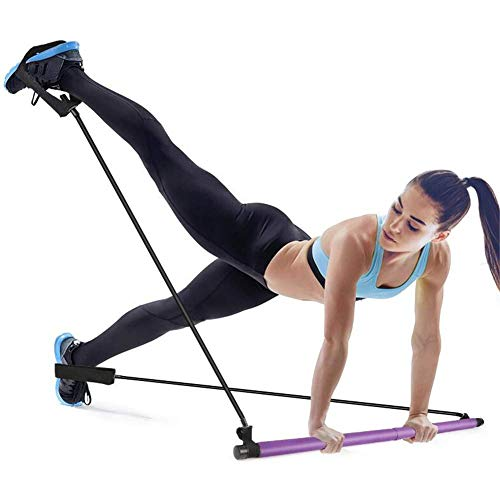 Mirooyu Portable Pilates Bar, Portable Pilates Bar Kit with Resistance Band, Adjustable Toning Yoga Stick with Foot Loop, Muscle Fitness Training Equipment for Home Gym Total Body Workout (Purple)