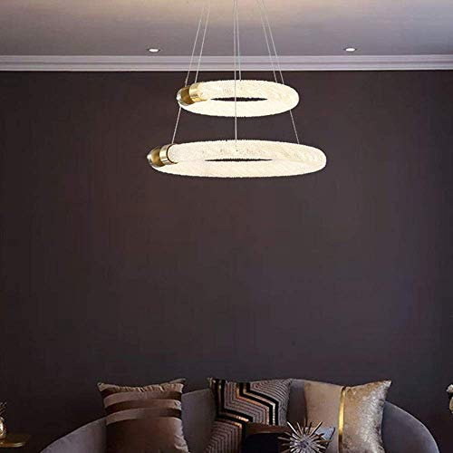 MQJ Atmósfera de Lujo Post-Moderno Duplex Villa Sala de Estar Cristal Chandelier Light Hop Hotel Lobby Lámparas de Oro 2 Capas D62 * H25Cm