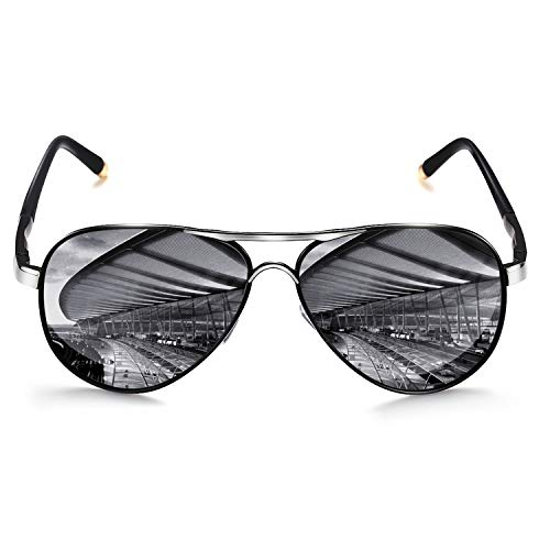 ROCKNIGHT Polarized Aviator Sunglasses for Men Women Metal Frame Flat Top Sunglasses Lightweight Silver Mirror Lens UV400 Outdoors