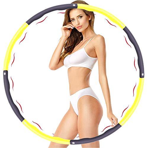 SPMOVE Fitness Reifen, Verwendet für Gewichtsverlust und Massage, Kann in 6-8 Teile Unterteilt Werden, 75-95 cm Durchmesser, Das Gewicht des Reifenschaumgewicht Beträgt ca 1.2kg (Gelb+grau)