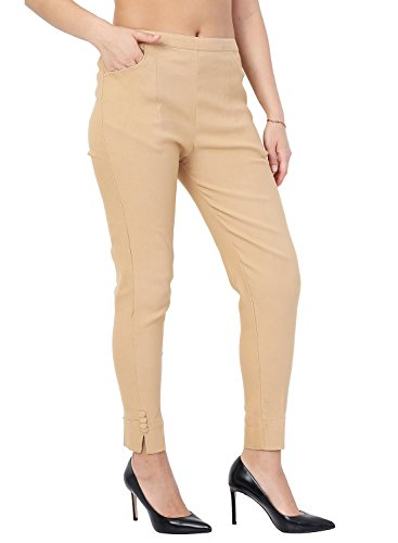 Istyle Can Fashionable Cotton Lycra Stretchable Slim Fit Straight Casual Cigarette Pants for Girls/Ladies/Women (Beige, X-Large)