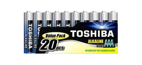 TOSHIBA 20 AAA Micro, LR3 Batterie Alkaline 1,5V Extra Power, 1 x 20er Pack, f�r Kamera Spielzeug Uhren Bewegungsmelder sofort einsatzbereit
