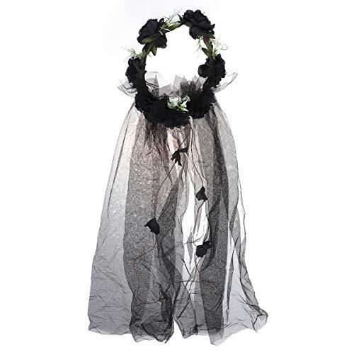 Lurrose Boda velos de novia con corona floral tocado rosa artificial banda...