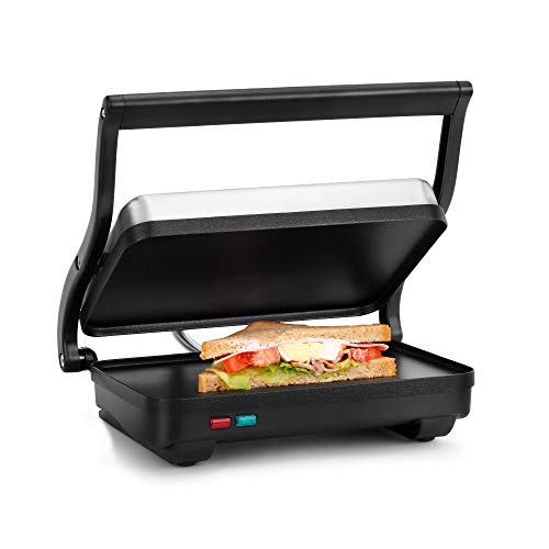 Holstein Housewares - Non-Stick Panini Press, Electric Griddle for Toasting Sandwiches, and Various Snacks, Black/Stainless Steel, (260 x 170mm)