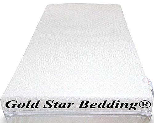 Baby Travel Cot Mattress 117 x 54 x 7.5 cm Quilted Breathable Antiallergenic -UK Made - Gold Star Bedding