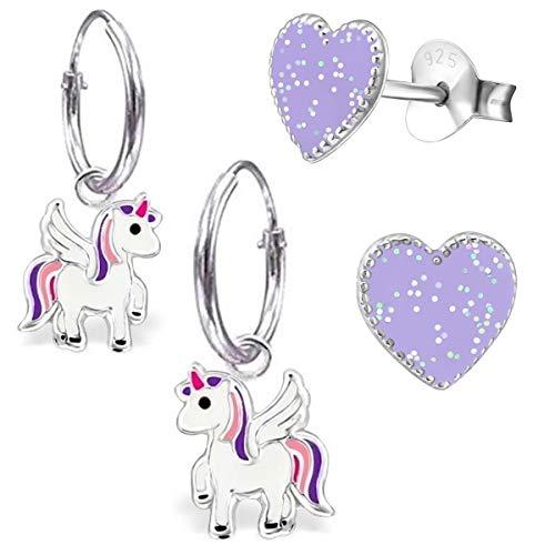 Mädchen 2 Paar Kleine Pegasus Creolen + Glitzer Herz Ohrstecker 925 Silber Mädchen Ohrringe Pferde Einhorn (AM102 Herz Glitzer-Lila)