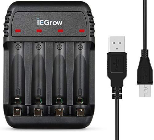 iEGrow Batterieladegerät AA AAA Ladegerät für Mignon AA, Micro AAA NI-MH NI-Cd wiederaufladbar Batterien, USB Batterieladegerät mit LED Anzeige - 4 Fach (Schwarz)