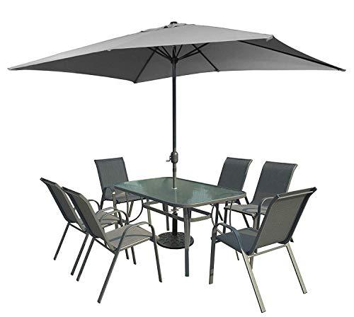 XONE Set da Esterno Grigio con ombrellone, Tavolo e 6 sedie in Acciaio e textilene 2x1 | Set Giardino con ombrellone 2x3 in Poliestere