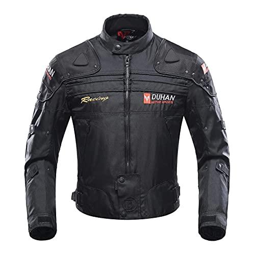 BORLENI Motorradjacke Herren Motorrad Jacke Winddicht mit Protektoren Protektoren Jacke Roller Biker Touren Damen Schwarz L