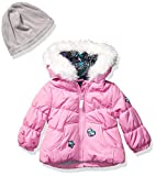 LONDON FOG Baby Girls Puffer Jacket with Scarf & Hat, Pink Cyclamen, 12Mo