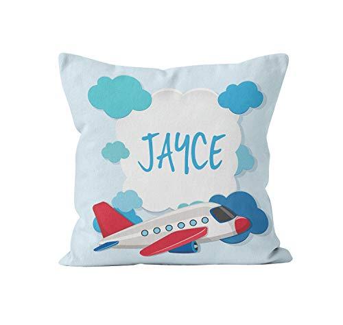 Vliegtuig Blauw Rood Jongens Kinderen Gepersonaliseerde Kussensloop Decor ative Gooi Kussensloop met Naam Kussensloop Gift