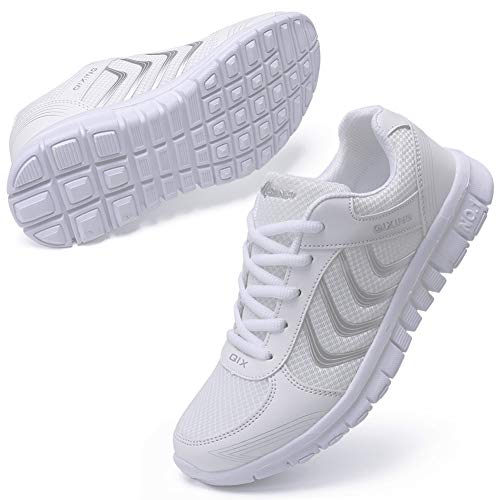 DUOYANGJIASHA Women's Athletic Road Running Mesh Breathable Casual Sneakers Lace Up Comfort Sports Student Fashion Tennis Shoes White