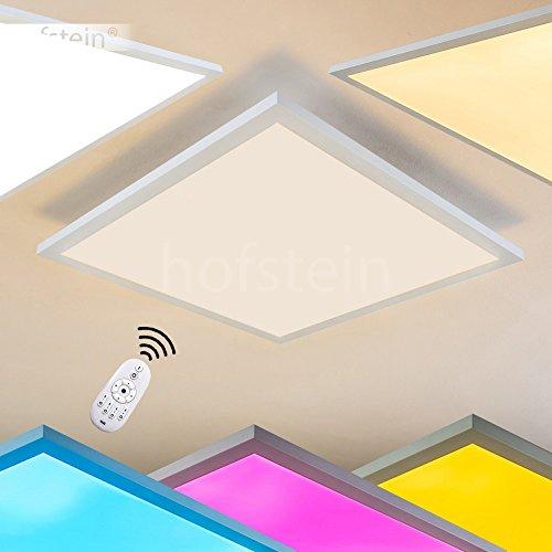 LED Deckenpanel Wabos, quadratische Deckenleuchte aus Metall in Weiß, dimmbare Deckenlampe mit RGB Farbwechsler u. Fernbedienung, 41 Watt, 3200 Lumen, Lichtfarbe 3000 Kelvin