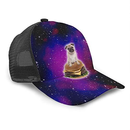 Unisex Baseball Cap Burger Mops im Weltraum Lustige Hamburger Caps Snapback Bill Hip Hop Hüte Hut Schwarz